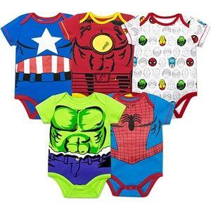 NWT Set of 5 Marvel Avengers Baby Bodysuits